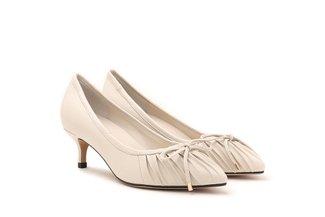 895-1 Beige Pleated Ribbon Heels