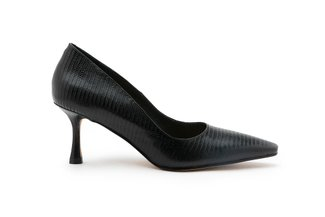 9006-1 Black Textured Pointed Leather Heels