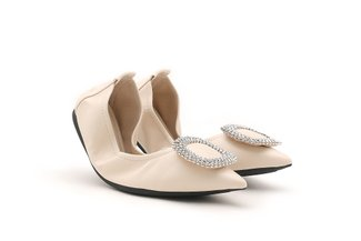 9550-21 Beige Diamante Buckle Pointed Leather Foldable Flats