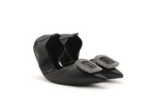 9550-21 Black Diamante Buckle Pointed Leather Foldable Flats