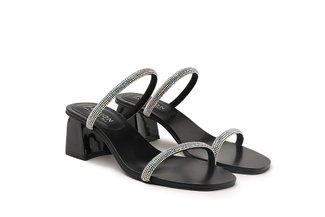 LT333-38 Black Diamante Strap Slide Heels