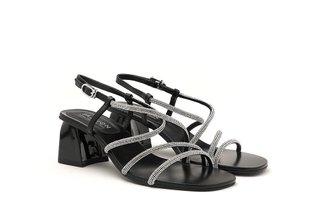 LT333-39 Black Diamante Cross Strap Heels