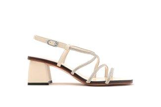 LT333-39 Beige Diamante Cross Strap Heels