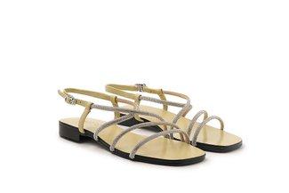 LT623-13 Lemon Diamante Cross Strap Sandals