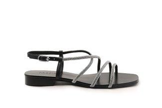 LT623-13 Black Diamante Cross Strap Sandals