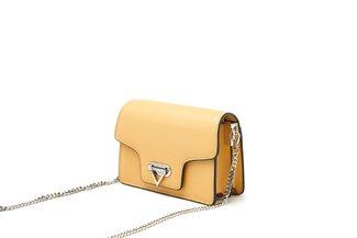 88186 Yellow Leather Chain Strap Crossbody Mini Bag