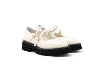 1032-1 Beige Twin Strap Textured Platform Loafers