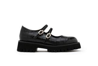 1032-1 Black Twin Strap Textured Platform Loafers