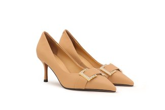2005-67 Almond Square Crystal Embellished Buckle Pointed Heels