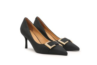 2005-67 Black Square Crystal Embellished Buckle Pointed Heels