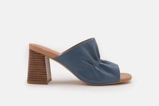2021-6 Blue Ruched Minimalist Leather Heel Sandals