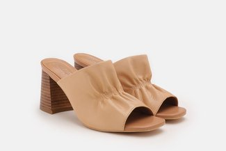 2021-6 Apricot Ruched Minimalist Leather Heel Sandals