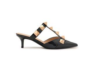 2112-01 Black Ornate Studded Patent Leather Mule Heels