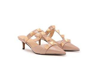 2112-01 Light Pink Ornate Studded Patent Leather Mule Heels