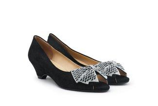 2259-02 Black Diamante Oversized Bow Peep Toe Pumps