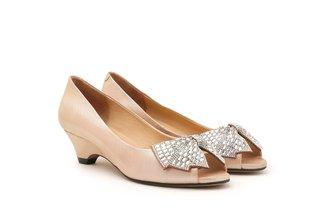 2259-02 Champagne Diamante Oversized Bow Peep Toe Pumps