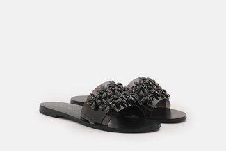 2639-72 Black Floral Diamante Embellished Slides Sandals