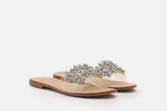 2639-72 Silver Floral Diamante Embellished Slides Sandals