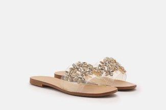 2639-72 Gold Floral Diamante Embellished Slides Sandals