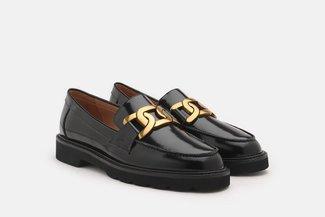 3553-1 Black Vintage Chain Embellished Loafers