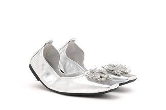 5603-1 Silver Embellished Buckle Square Toe Foldable Flats