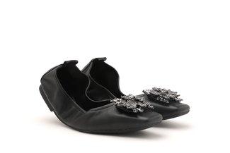 5603-1 Black Embellished Buckle Square Toe Foldable Flats