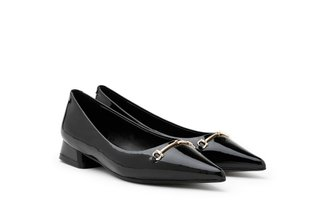 623A-2 Black Penny Buckle Patent Leather Heels