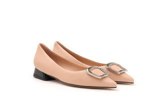623A-3 Nude Metallic Square Buckle Leather Heels