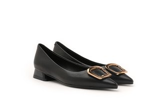623A-3 Black Metallic Square Buckle Leather Heels
