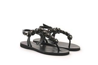 6604-1 Black Crystal Floral T-Bar Leather Sandals