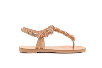 6604-1 Almond Crystal Floral T-Bar Leather Sandals