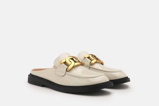 6633-2 Beige Gold Chain Buckle Patent Leather Mules