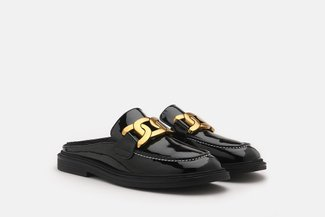 6633-2 Black Gold Chain Buckle Patent Leather Mules