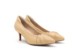 712-29 Yellow Classic Pleated Pointed Kitten Heels