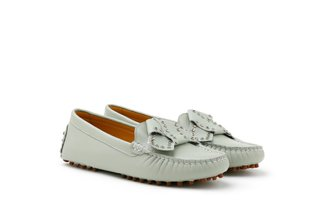83692-2 Mint Studded Origami Bow Leather Loafers