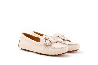 83692-2 Beige Studded Origami Bow Leather Loafers
