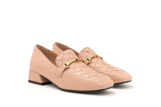 9175-2 Nude Weave Effect Leather Loafers