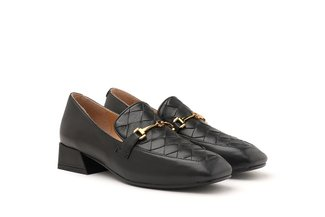 9175-2 Black Weave Effect Leather Loafers