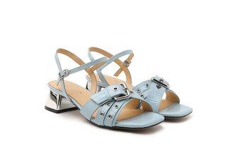 9811-1 Blue Croc Effect Strappy Sandal Heels