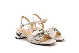 9811-1 Beige Croc Effect Strappy Sandal Heels