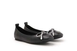 A1618-1 Black Diamante Bow Round Toe Flats