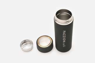 PAZZION Black Thermal Bottle with Tea Strainer