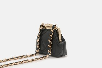 11676 Black Quilted Vintage Mini Slingbag
