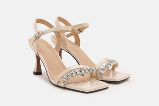 1802-05 Beige Diamante Embellished Strappy Leather Sandal Heels