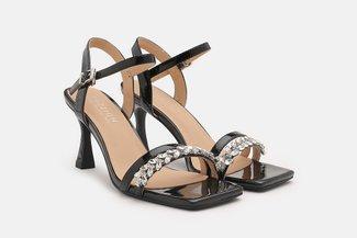 1802-05 Black Diamante Embellished Strappy Leather Sandal Heels