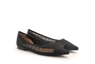 2007-01 Black Sparkly Mesh Pointy Toe Flats