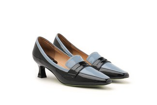 21002-6 Blue Dual Tone Penny Loafer Heels
