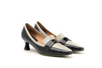 21002-6 Light Grey Dual Tone Penny Loafer Heels
