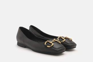 3801-1 Black Vintage Horsebit Square Toe Flats
