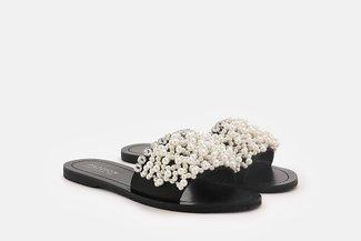 4446-2 Black Embellished Pearl Sandals